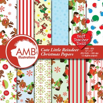 Digital Papers -  Reindeer papers and backgrounds AMB-456