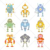 Cute robot character clip arts