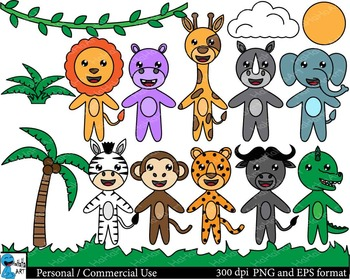 Cute safari animals Digital Clip Art Graphics 16 images cod125
