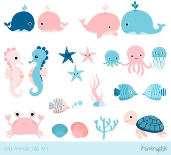 Cute sea animal clipart, Under sea summer clip art, Blue pink whale, seahorse