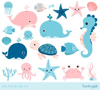 cute sea animal clipart under sea summer clip art blue pink whale rh teacherspayteachers com sea animals clip art images baby sea animal clipart