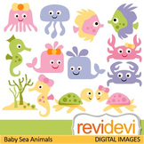 Cute sea animals clip art in pastel colors (fish, sea turtle, jellyfish, crap)