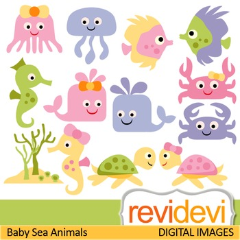Cute sea animals clip art in pastel colors (fish, sea turt