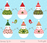 Cute snowman clipart with birds -  digital download
