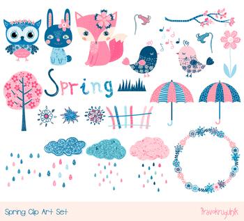 Cute spring animal clipart set, Owl, fox, cloud, flower wreath, tree, bird bunny