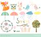 Cute spring clipart set, Spring animal character clip art, fox, owl, bunny, bird