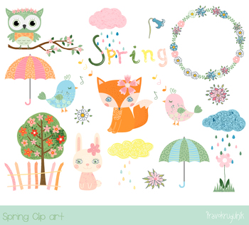 Bunny spring. Cute clipart set animal
