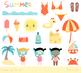 Cute summer clipart, Beach holiday clipart, vacation, sun, camera, sandcastle