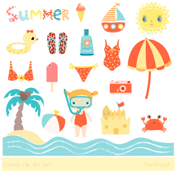 Cute summer clipart, Beach holiday clipart, vacation, sun ...