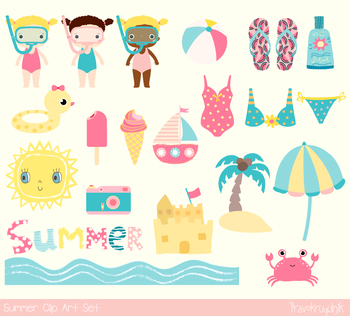Cute summer clipart set, Beach holiday vacation party, sun, snorkel, ice cream