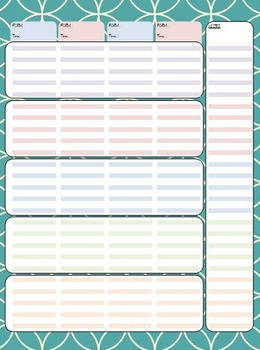 Weekly planner pages - Editable version