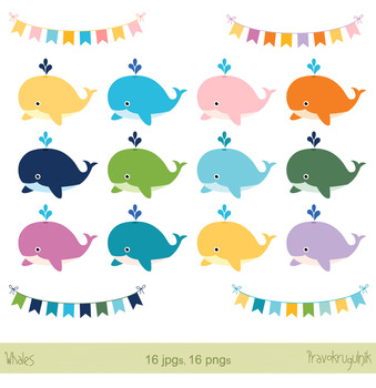 Cute whales clip art set, Colorful whales, Bunting, banner
