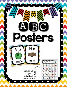 Back to School - Alphabet Set, Polkadot and Chevron Theme