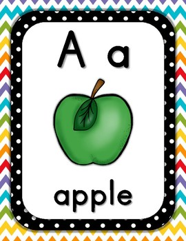 Alphabet ABC Posters, Rainbow Chevron, includes 1 page ABC chart