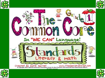 "Cutest EVER! 1st / FIRST Grade Common Core ""WE CAN"" Posters for Literacy & Math!"