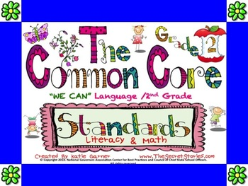 "Cutest EVER! 2nd / SECOND Grade Common Core ""WE CAN"" Posters for Literacy & Math"