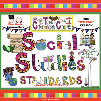 Cutest EVER Common Core SOCIAL STUDIES STANDARDS Posters for First / 1st Grade!