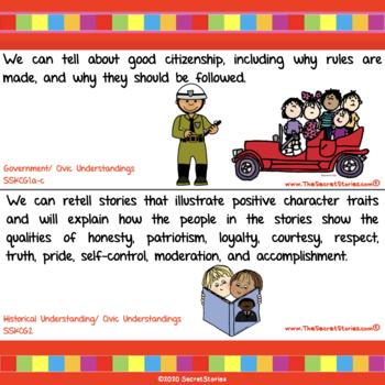 Cutest EVER Common Core SOCIAL STUDIES STANDARDS Posters for Kindergarten/ PreK!