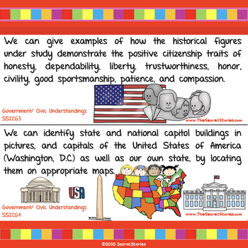 Cutest EVER Common Core SOCIAL STUDIES STANDARDS Posters for Second/ 2nd Grade!