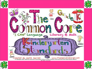 "Cutest EVER! K / KINDERGARTEN Common Core ""I CAN"" Posters for Literacy & Math!"