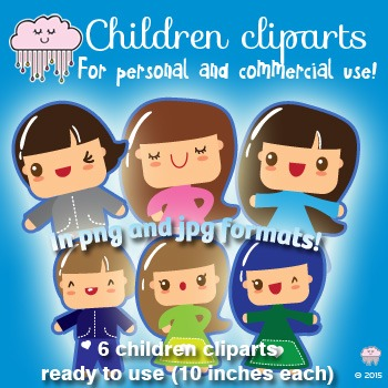 Cutest Kawaii Clipart Children - For personal and Commerci