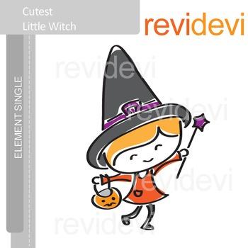 Cutest Little Witch Clip art E005 / Halloween clipart