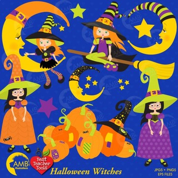 Halloween Witches clipart, Cutest little witches AMB-216
