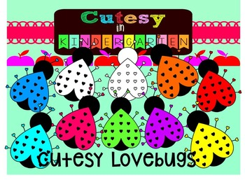 Cutesy Clipart- Cutesy Rainbow Lovebugs (for Personal and Commercial Use)