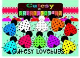 Cutesy Clipart- Cutesy Rainbow Lovebugs (for Personal and