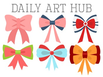 Cutesy Hair Ribbon Clip Art - Great for Art Class Projects! Make Adorable Masks