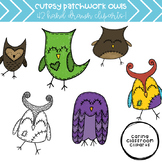 Cutesy Patchwork Owls - Personal and Commercial Use