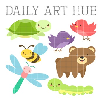 Cutesy Summer Time Animals Clip Art - Great for Art Class Projects!