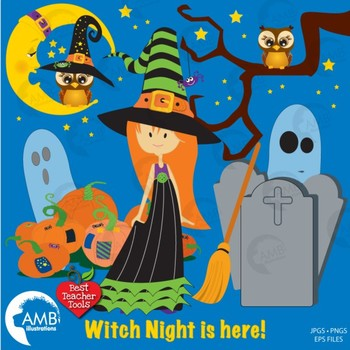 Halloween Witches clipart, Cutey Pie Witches Clipart, AMB-277