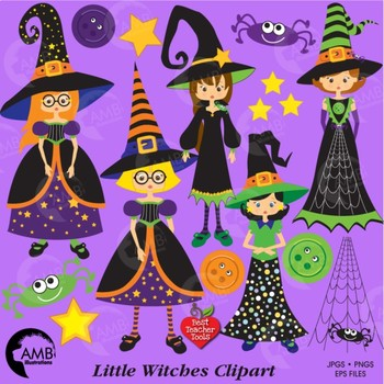 Halloween Clipart, Witches Clipart, Trick or Treat Clip Art, AMB-214