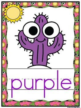 Cutie Cactus | Color Words Poster Set