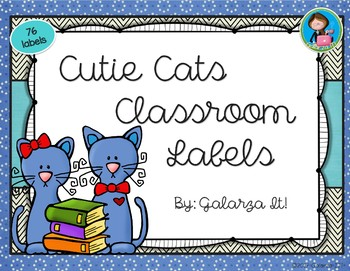 Cutie Cat Classroom Supply lables Growing Set
