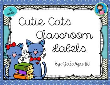 Cutie Cat Classroom Supply labels Growing Set