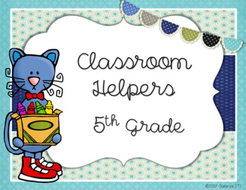 Cutie Cat classroom helper job cards (76 jobs in 2 sizes cards)