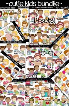 Cutie Kids Clipart Collection Bundle