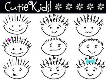 FREEBIE - CLIPART - Cutie Kids - cartoon faces