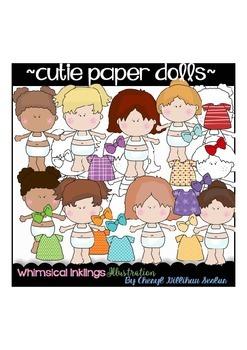 Cutie Paper Dolls Clipart Collection