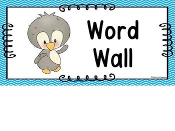 Cutie Penguin Word Wall & 200 Fry Words