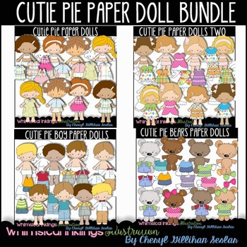 Cutie Pie Paper Doll Bundle Clipart