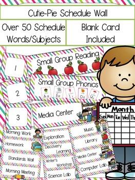 Cutie Pie Schedule Cards