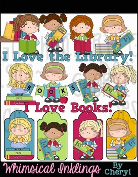 Cutie Pies Love Books Library Clipart Collection