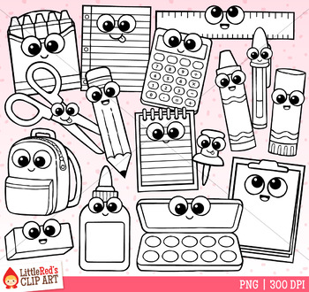 Cutie School Supplies Clip Art
