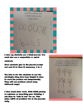 Cut/paste subtraction math journal prompts