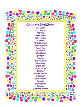 Cutsy Dots Classroom Helpers and Chores