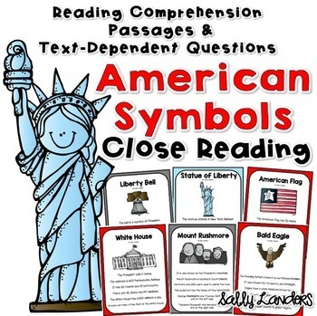 Cuttin' It Close! AMERICAN SYMBOLS a Patriotic Close Reading Pack for K, 1 & 2