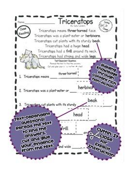 Cuttin' It Close! DINOSAUR Close Reading Pack {Kindergarten, 1st & 2nd Grade}